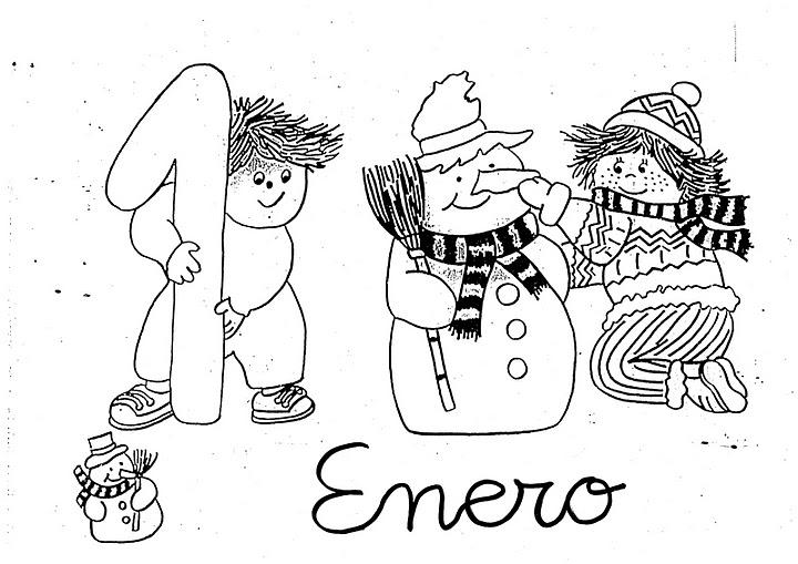Contemporáneo Hoja Para Colorear De Enero Friso - Páginas Para ...