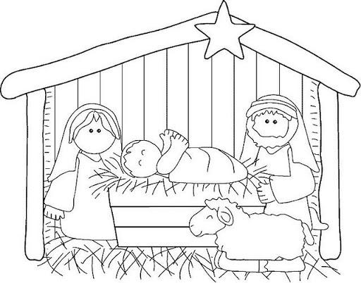 Dibujos De Navidad Del Nacimiento De Jesus.El Nacimiento De Jesus En El Portal De Belen Para Pintar