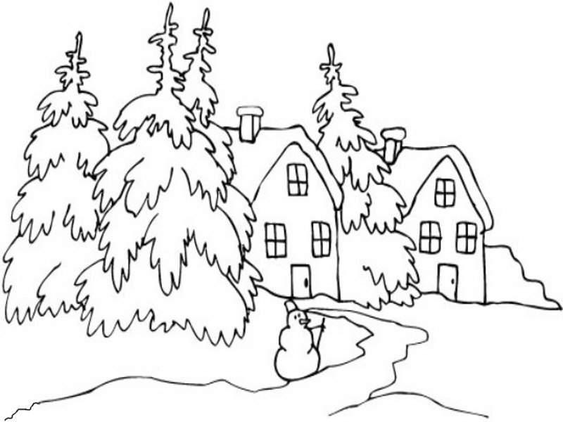 Dibujos Para Colorear De Un Paisaje: Dibujos De Paisajes Invernales Para Colorear
