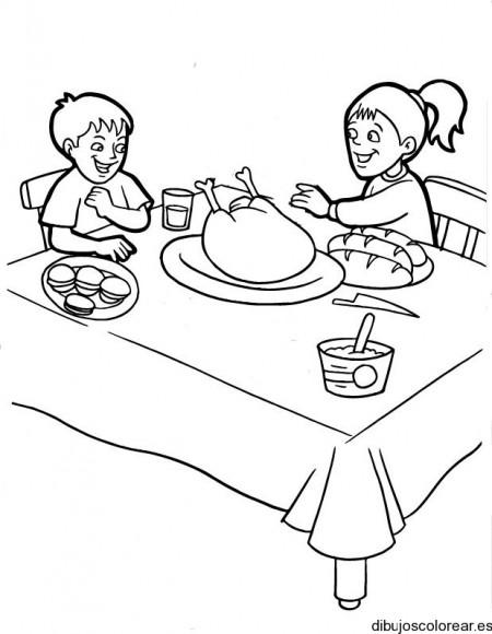 Imagenes Familia Cenando Para Colorear Dibujos De Una Cena En
