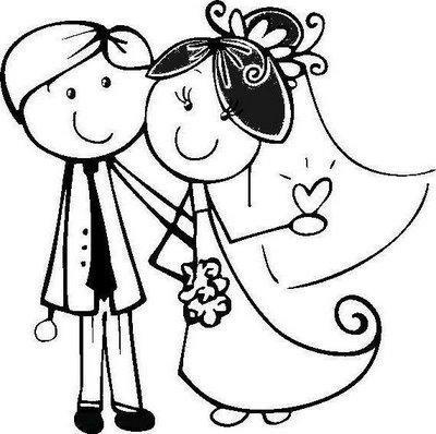 Dibujos de bodas para descargar imprimir y pintar for Disegno sposi