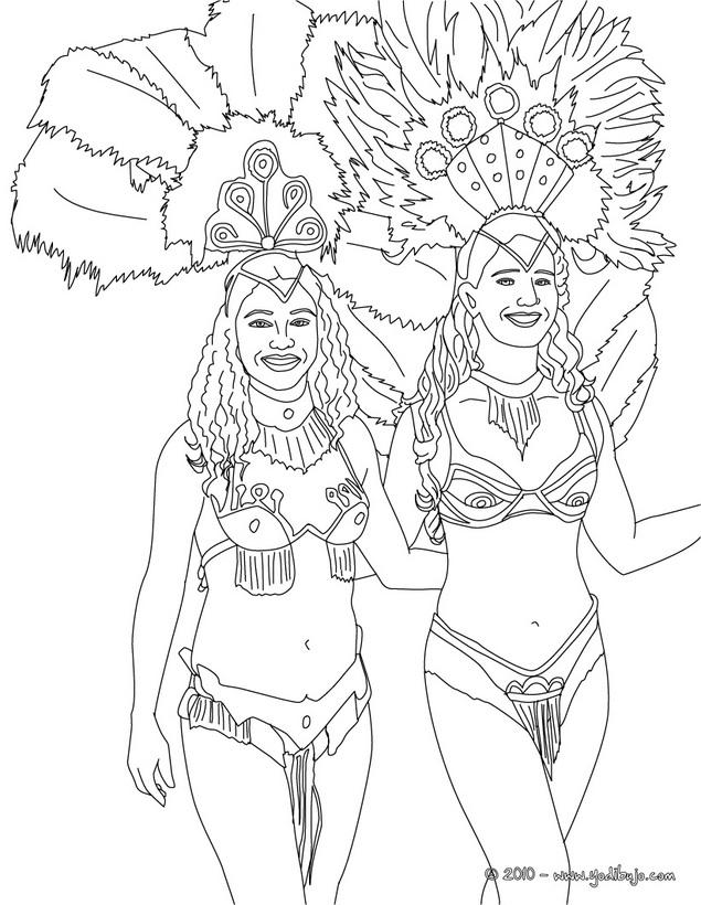 Dibujos De Bailarinas Del Carnaval De Rio Para Pintar Colorear