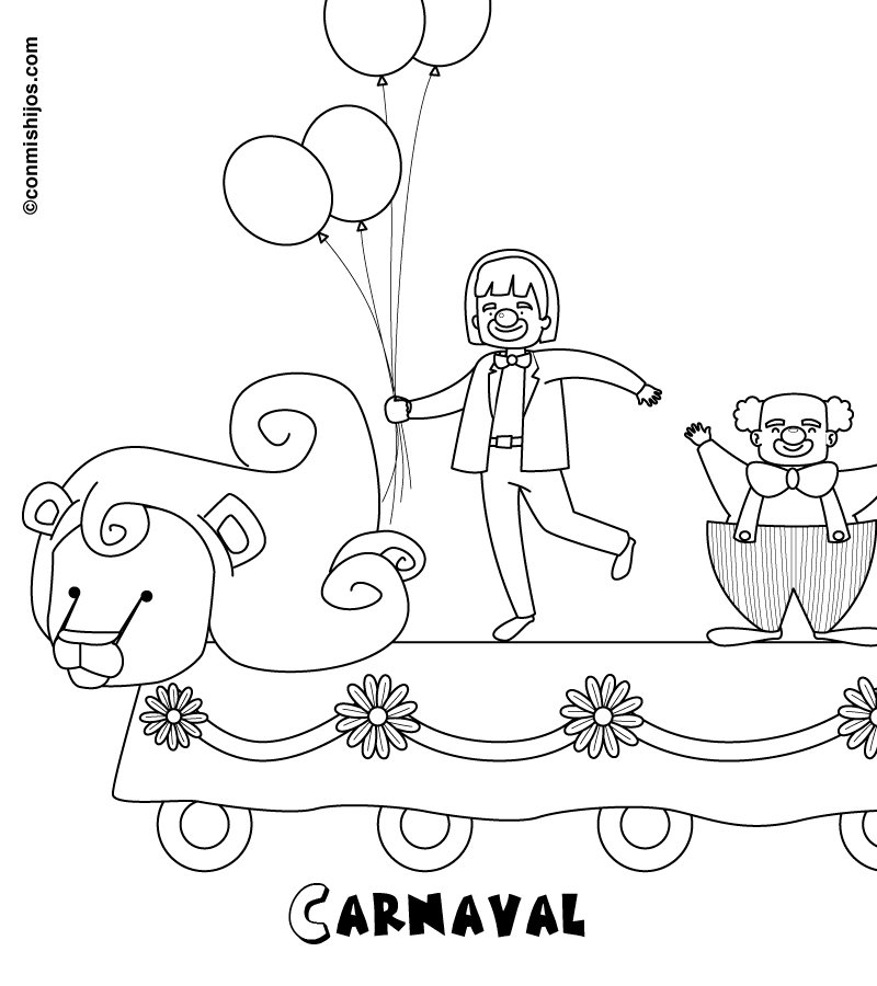 Dibujos infantiles de Carnaval para imprimir y pintar   Colorear