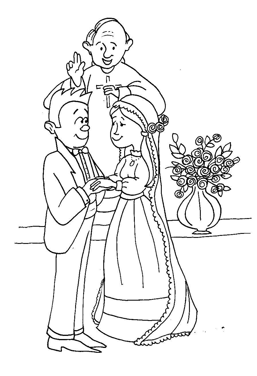 Elementos Del Matrimonio Catolico : Dibujos del día matrimonio para colorear