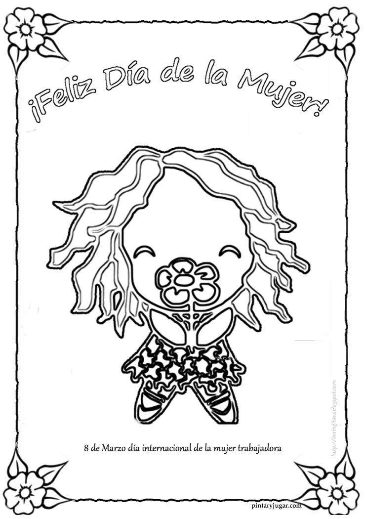 Dibujos originales para colorear el 8 de marzo Día Internacional de ...