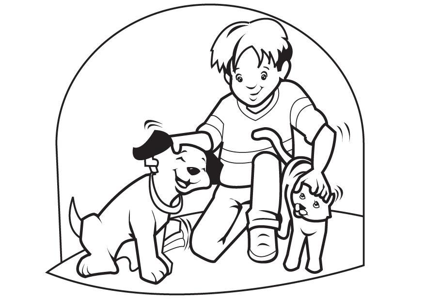 Coloreando niños jugando con sus mascotas   Colorear imágenes