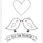 Tarjeta del Día de San Valentín para imprimir, recortar y colorear