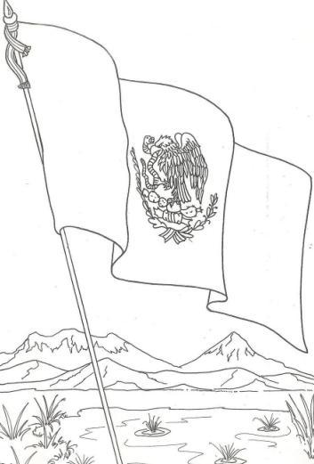 Bandera+de+Mexico+-+Dibujo+para+colorear+pintar+Dia+de+la+Bandera+de+mexico