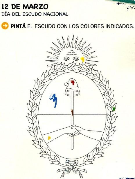 12 de marzo Da del Escudo Nacional Para pintar