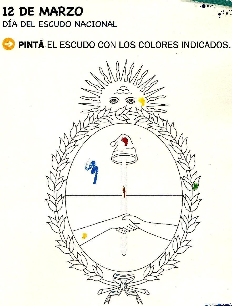 12 de marzo – Día del Escudo Nacional – Para pintar | Colorear imágenes