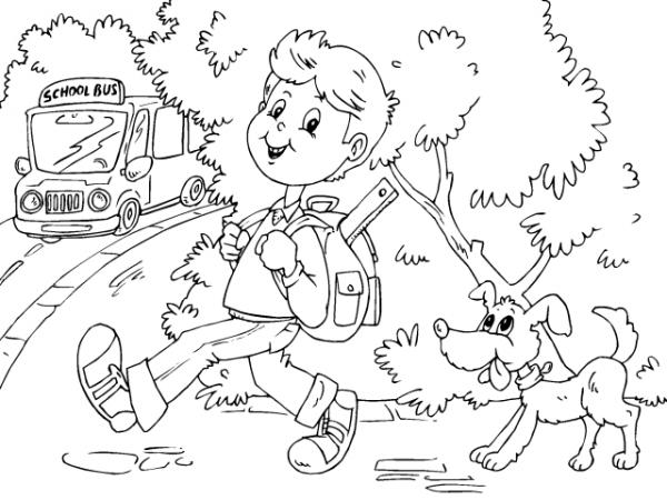 Dibujos De Niños Camino A La Escuela Para Pintar Colorear Imágenes