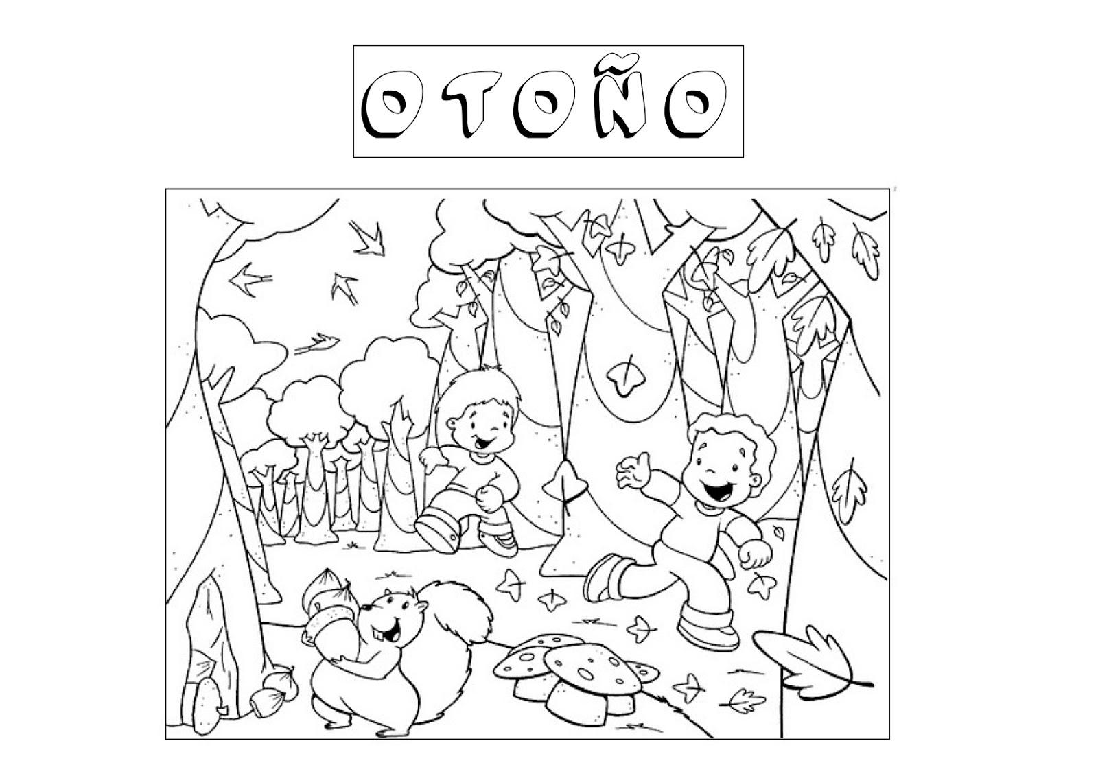 Otoño, dibujos para pintar de la estación que caen las hojas ...