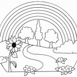 Dibujos de paisajes con arco iris para pintar