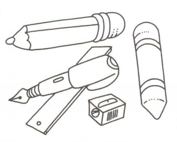 Dibujos Sobre La Escuela Para Colorear E Imprimir: Dibujos De útiles Escolares Para Pintar