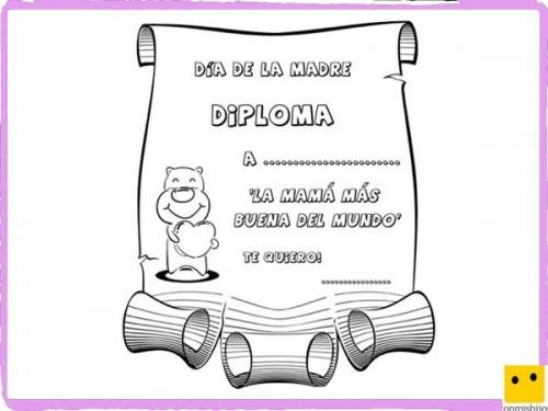 Diplomas Y Tarjetas Del Dia De La Madre Para Descargar Y Pintar