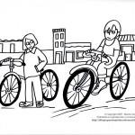 Dibujos de niños en bicicleta para colorear
