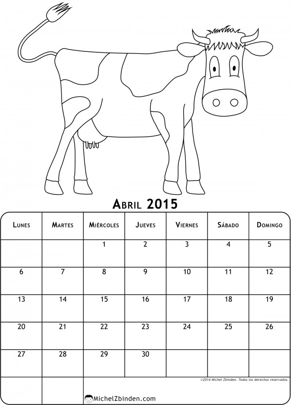 calendario-abril-2015-dibujo-para-colorear-vaca-l