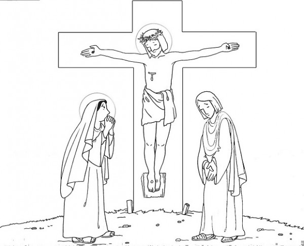 Dibujo de una cruz para colorear en Semana Santa | Colorear imágenes