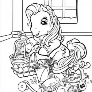 cute-little-pony-and-easter-basket-coloring-page-300x300