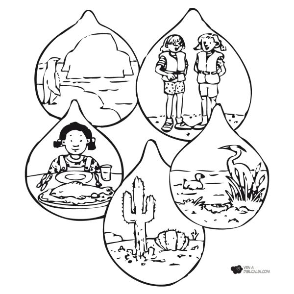 Dibujos Del Cuidado Del Agua Para Colorear El 22 De Marzo