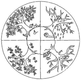 Los mejores dibujos de mandalas de rboles para pintar colorear im genes - Dessin 4 saisons ...