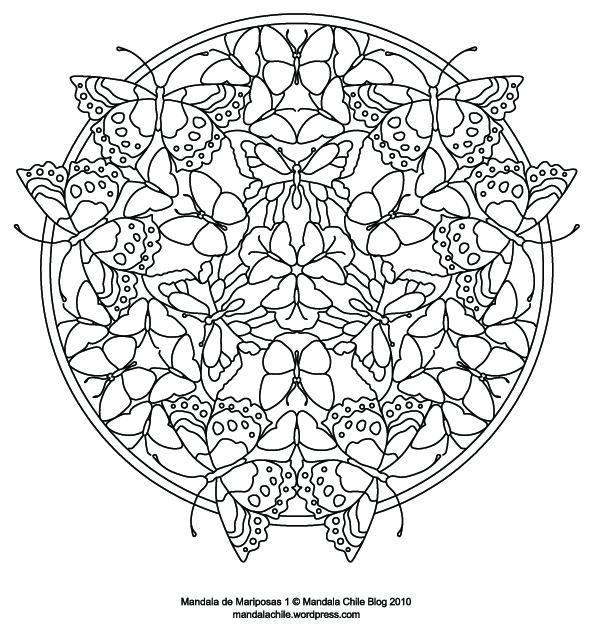 Dibujos de mandalas de mariposas para pintar | Colorear imágenes