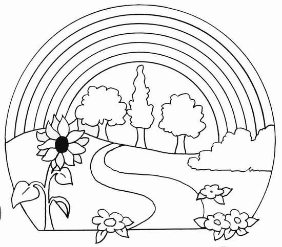 paisajes-para-colorear-de-primavera