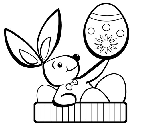 Dibujos de Felices Pascuas para colorear con huevos , conejos y ...