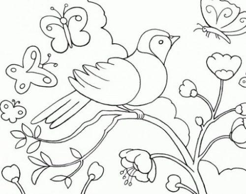 Dibujos De La Primavera Con Mariposas Para Pintar Colorear Imágenes