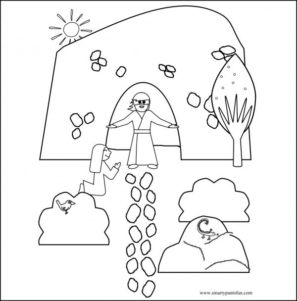 Jesús resucitó para imprimir y pintar ¡Feliz Pascua! | Colorear imágenes