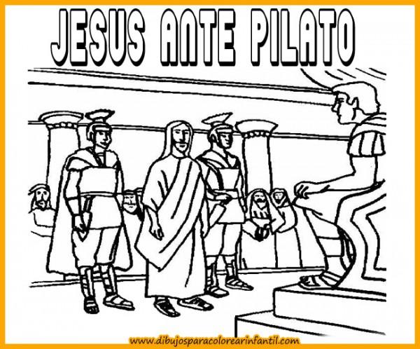 semanadibujos de semana santa jesus ante pilato para colorear
