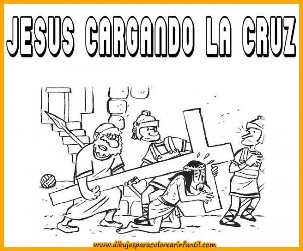 semanadibujos de semana santa jesus cargando la cruz para colorear