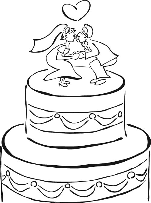 Dibujos de tortas de bodas para imprimir y pintar | Colorear imágenes