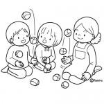 Dibujos de niños jugando para colorear