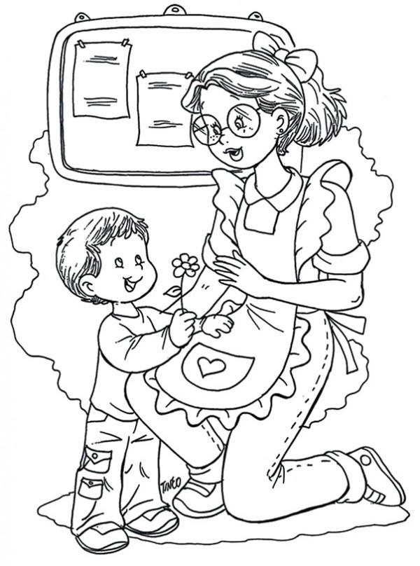 Dibujos Del Día De Los Jardines De Infantes Y Las Maestras Jardineras Para Pintar Colorear Imágenes