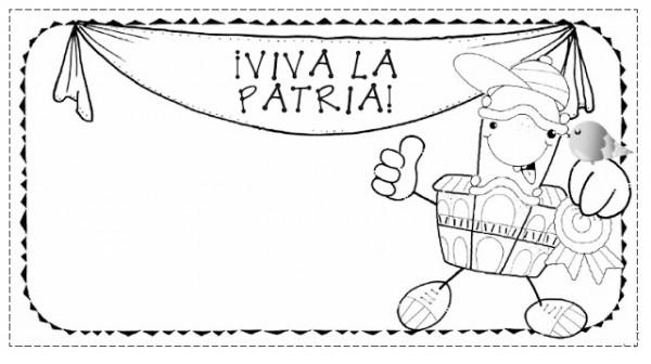 Tarjetas y distintivos del Día de la Patria para imprimir y pintar ...