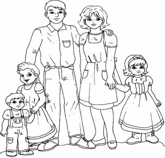 Familia-para-colorear-online-540x519
