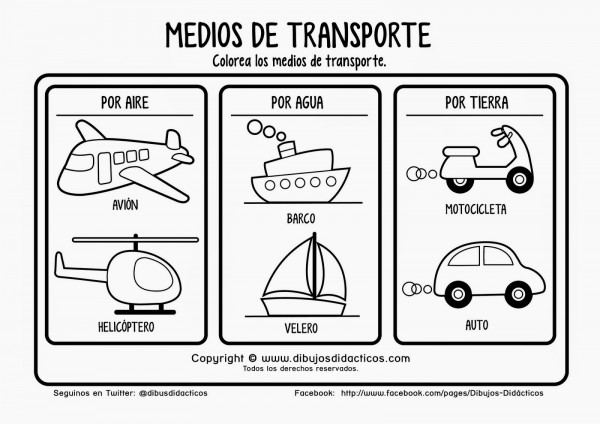Plantillas de dibujos de medios de transportes para colorear ...