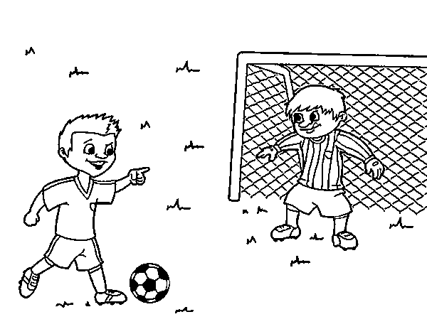 Dibujo De Jugando A Fútbol Para Colorear: Imágenes Para Pintar De Futbol Para El Día Del