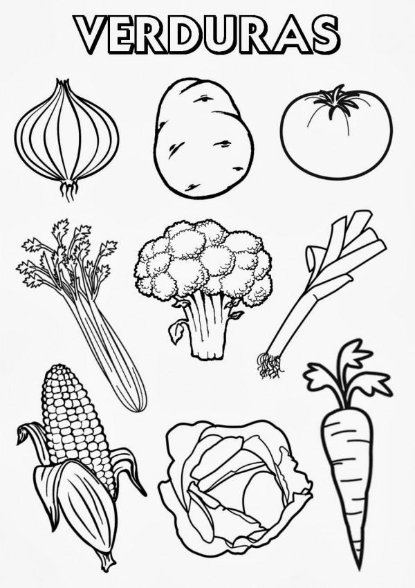 Dibujos de verduras para imprimir y colorear | Colorear imágenes