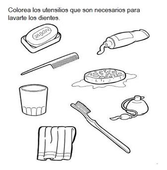 Dibujos De Instrumentos De Aseo Personal Para Colorear Colorear