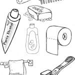 Dibujos de instrumentos de aseo personal para colorear