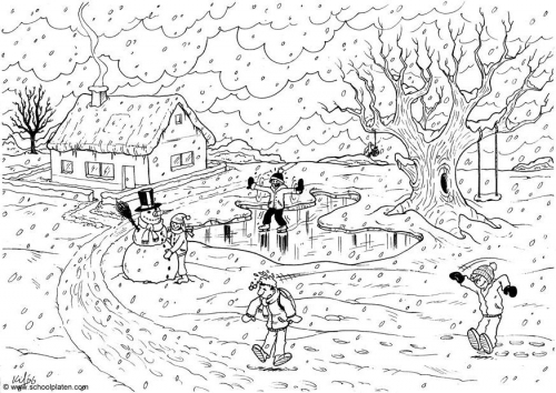Dibujos De Paisajes De Invierno Para Imprimir Y Colorear Colorear