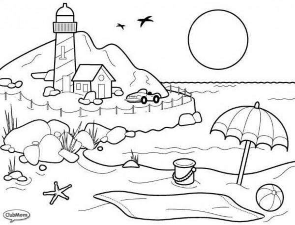 Dibujos de playa ,paisajes de la costa para colorear: Pintar el mar ...
