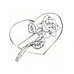 Dibujos de corazones con rosas para imprimir y colorear