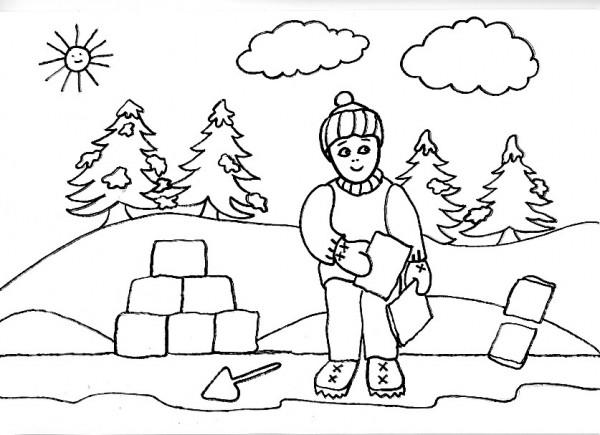 jugando en la nieve para colorear 2