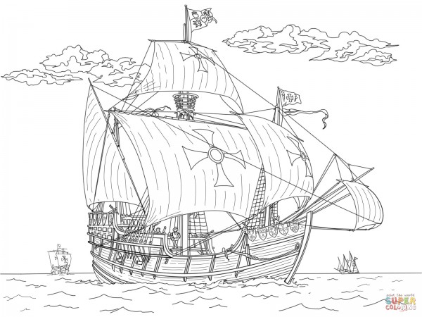 barcos de piratas para colorear