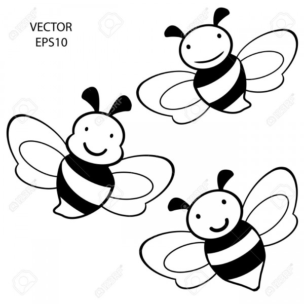 19135106-set-of-feeling-on-small-face-of-baby-bee-bee-icon-bee-drawing-bee-outline-vector-Stock-Vector