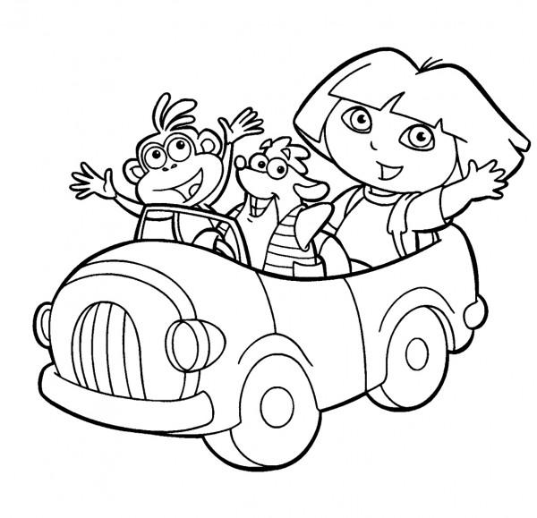 Dibujo-de-Dora-Tico-y-Botas-para-colorear