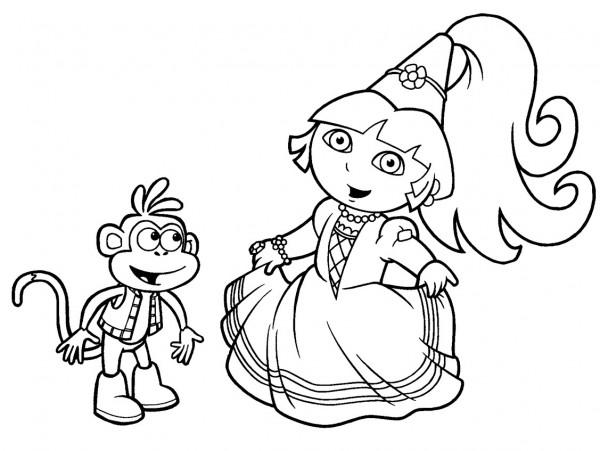 Dora-Fairytale-princess-para-pintar